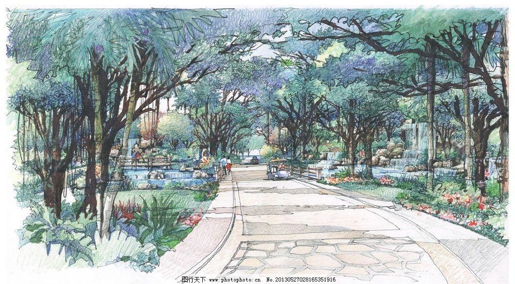 手绘小区景观入口图片