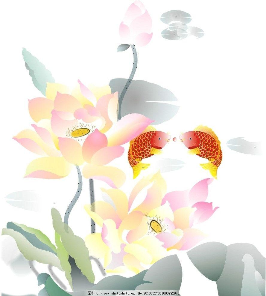 荷花 红鲤鱼 水墨画图片-荷 水墨画荷花汽车