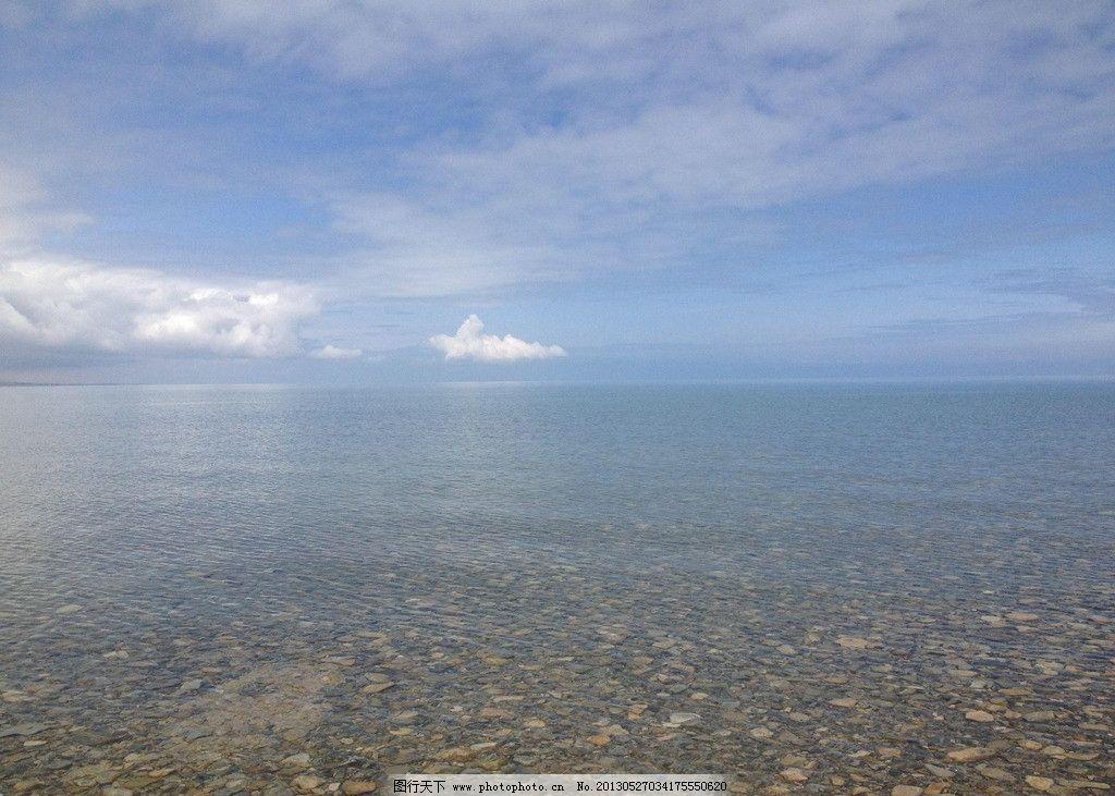 青海湖 青海省 咸水湖 水天相接 蓝天白云 空旷 宁静 禅意 圣地