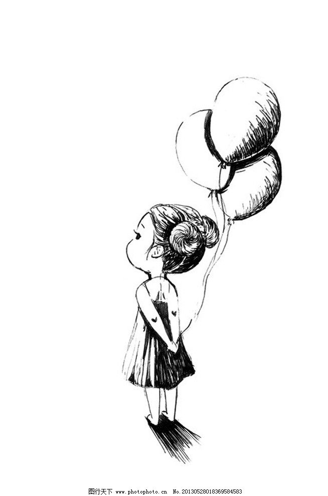 手绘女孩 插画 黑白 动漫动画