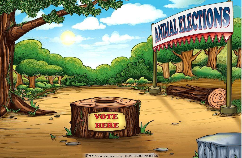 卡通场景 卡通森林 树木 树干 彩色卡通场景 动漫动画 卡通游戏场景