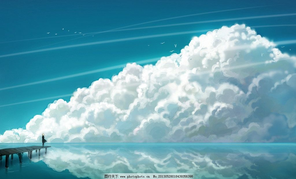 动漫风景 蓝天 白云 动漫场景 手绘 女孩 飞鸟 动漫壁纸 高清壁纸