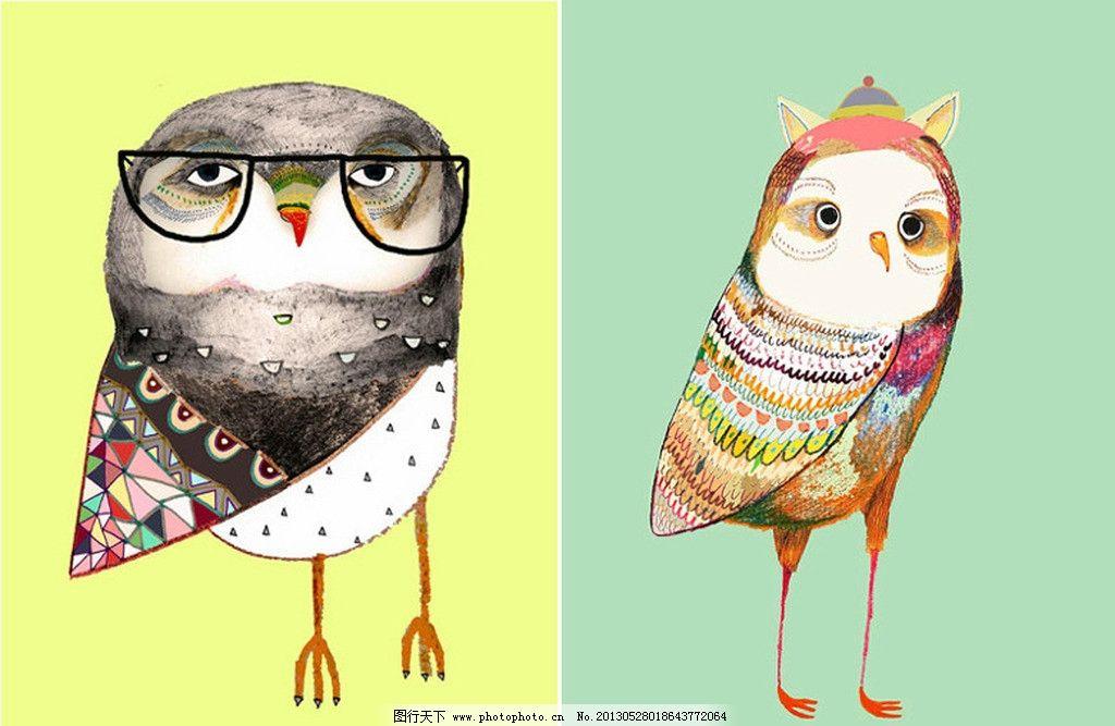 猫头鹰 手绘 动漫 眼睛 生物 其他 动漫动画 设计 300dpi jpg