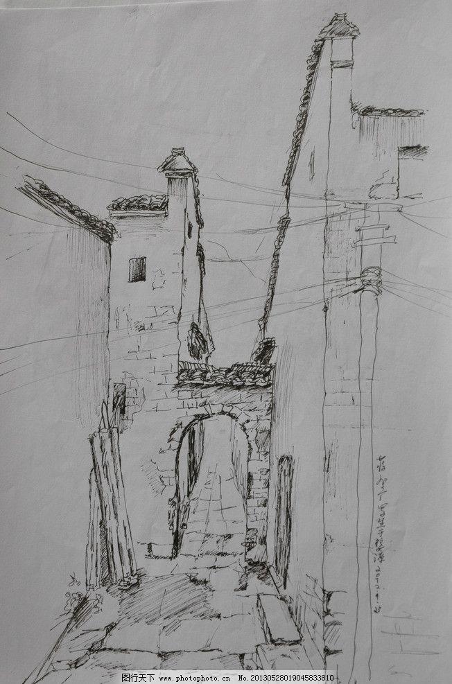 婺源写生 风景 线描 钢笔画 古建筑 速写 绘画书法 文化艺术 设计 300-