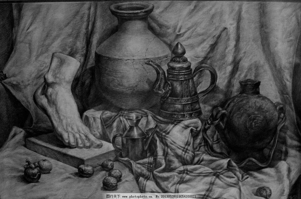 罐子石膏结构素描图片