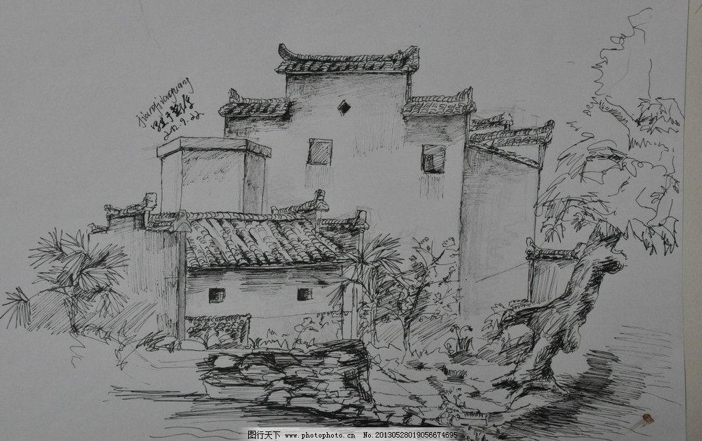柳江古镇速写_柳江古镇写生钢笔画_手绘