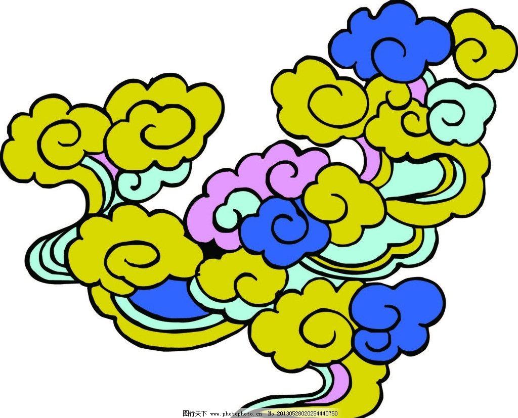 手绘中国古代年画云朵