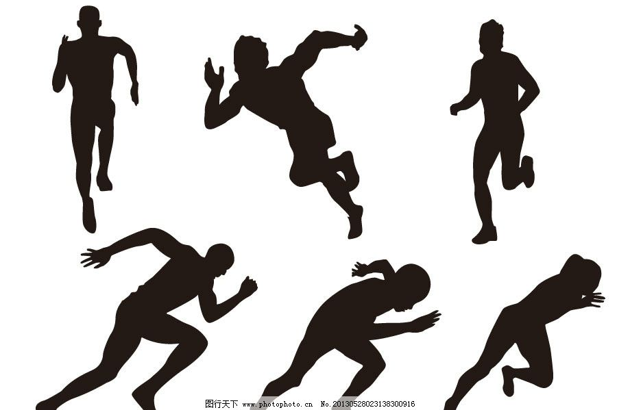 起跑 跑步 奔跑 快跑运动员 运动员剪影 起跑剪影 晨跑的人们 跑步