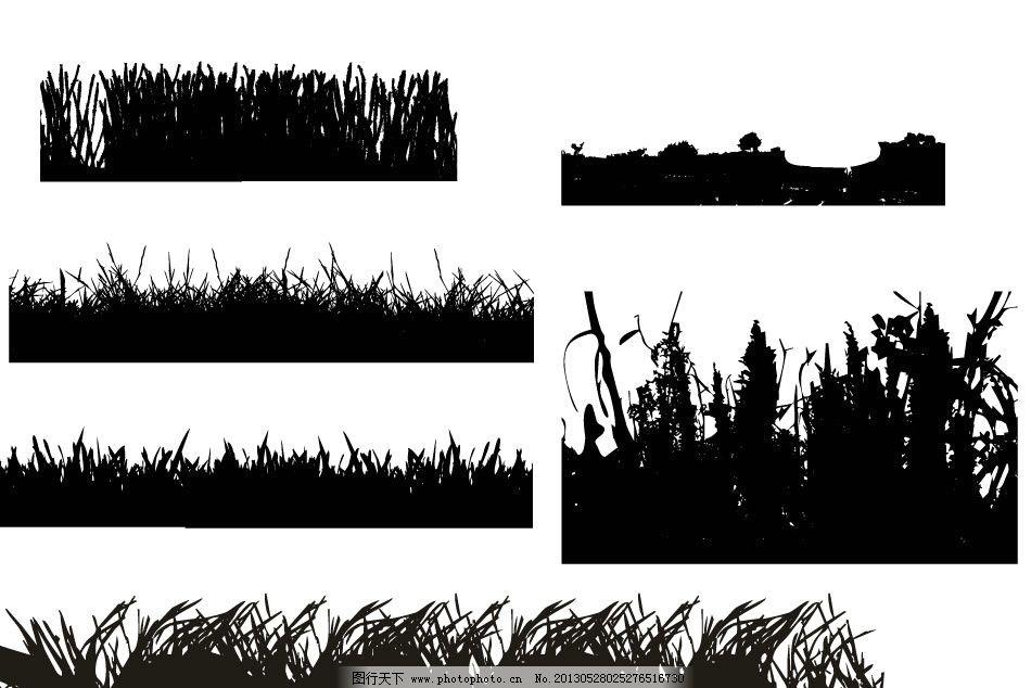 设计图库 生物世界 树木树叶  草丛 草剪影 小草 草丛剪影 植物剪影