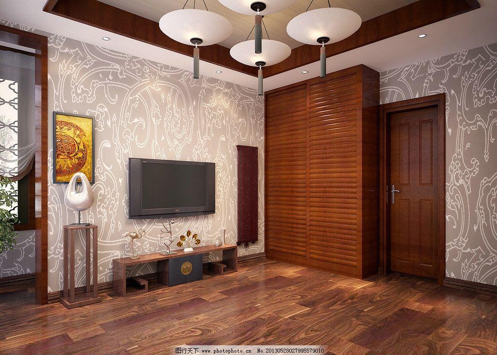 电视背景墙 背景墙效果图 墙纸 木地板 吊灯 室内设计 环境设计 设计