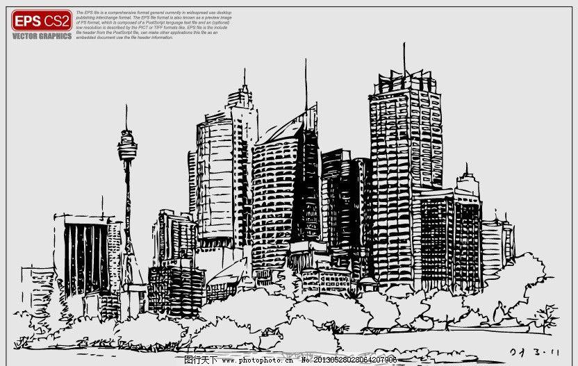 城市建筑速写矢量图图片图片