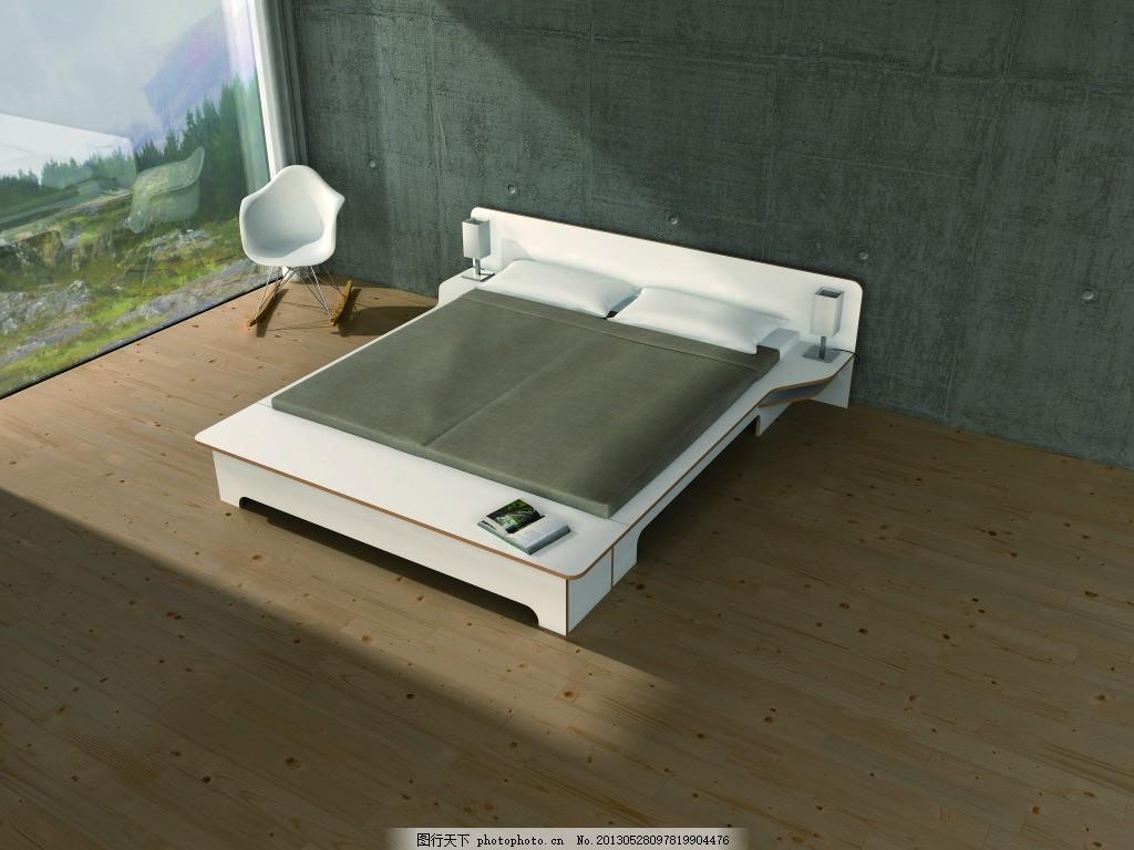 床俯视图,板床 家居 卧室 灰色-图行天下图库