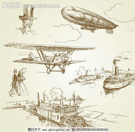 飞机素描图片大全大图