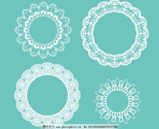 欧式花纹 圆形 边框 标签 波浪花纹 潮流 传统 对称 复古 高雅