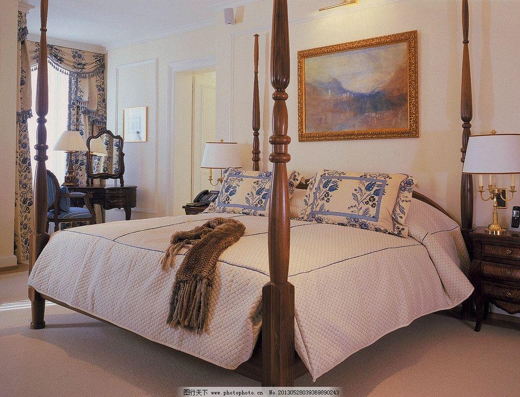 古典大床 装修设计 家具 房屋 室内 卧室 复古 木质 壁画 室内摄影