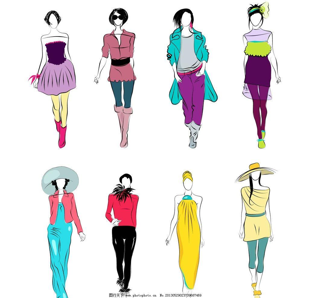 手绘少女 复古 风格 女性 服装设计 时尚 插画 美女 矢量素材