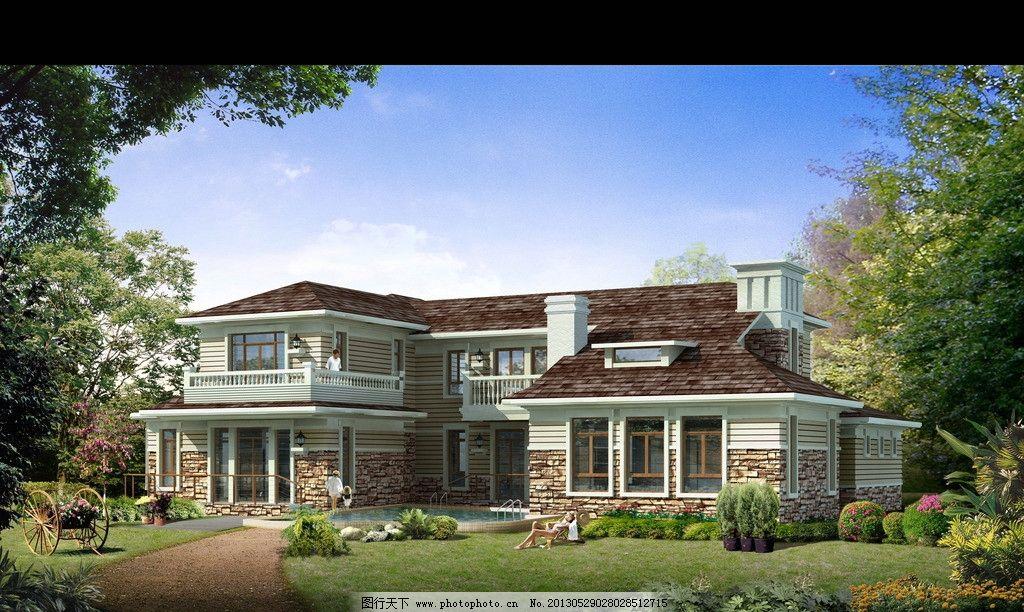 效果图        建筑表现 后期 psd 园林 景观 别墅 私人会所 建筑设计