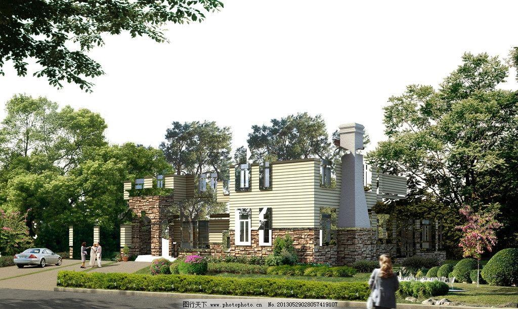 园林别墅景观效果图图片