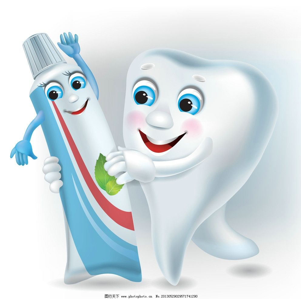 卡通牙齿 表情 笑脸 卡通 有趣 可爱 滑稽 幽默 手绘 牙刷 牙膏 卡通