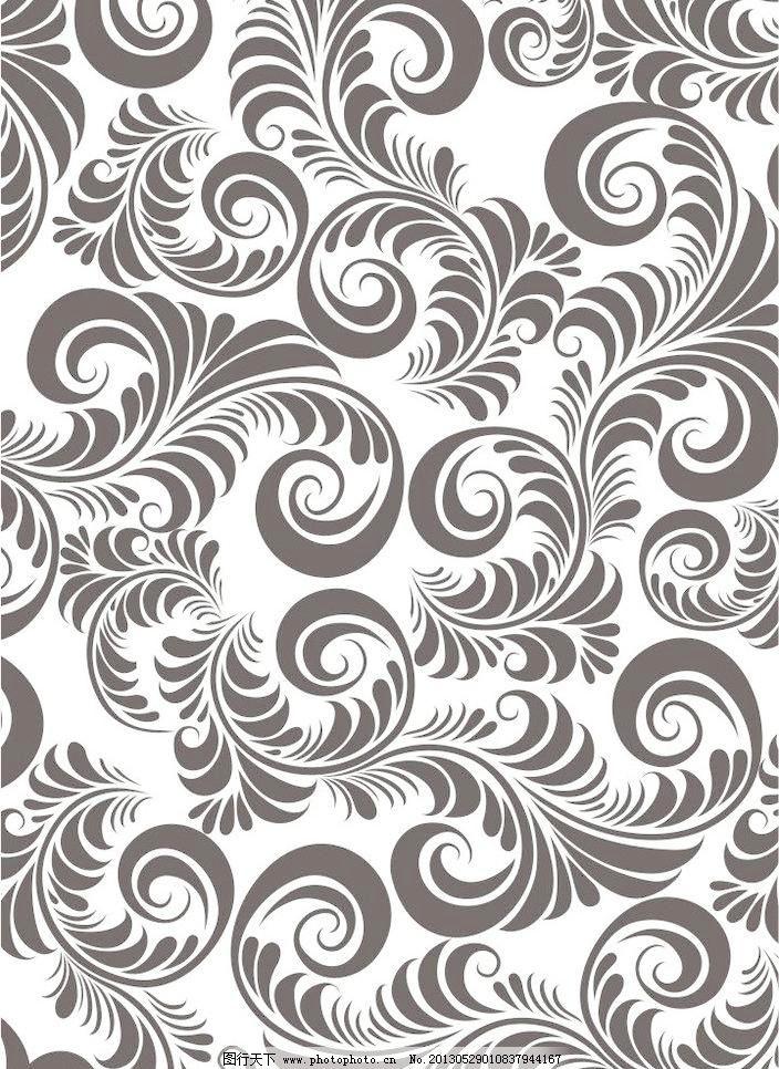 底纹边框 对比 对称 黑白 花纹 花形 卷纹 欧式潮流图案矢量素材 欧式