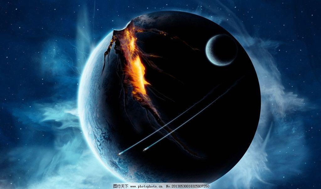 星球壁纸 星空 地球破裂 幻想 插画 艺术 绘画 月球 高清壁纸图片