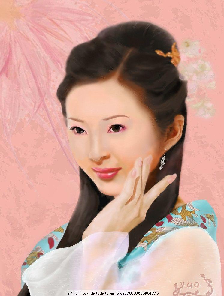 手绘美女 古装美女 唯美 幻想 插画 美女 艺术 绘画 板绘美女 美女