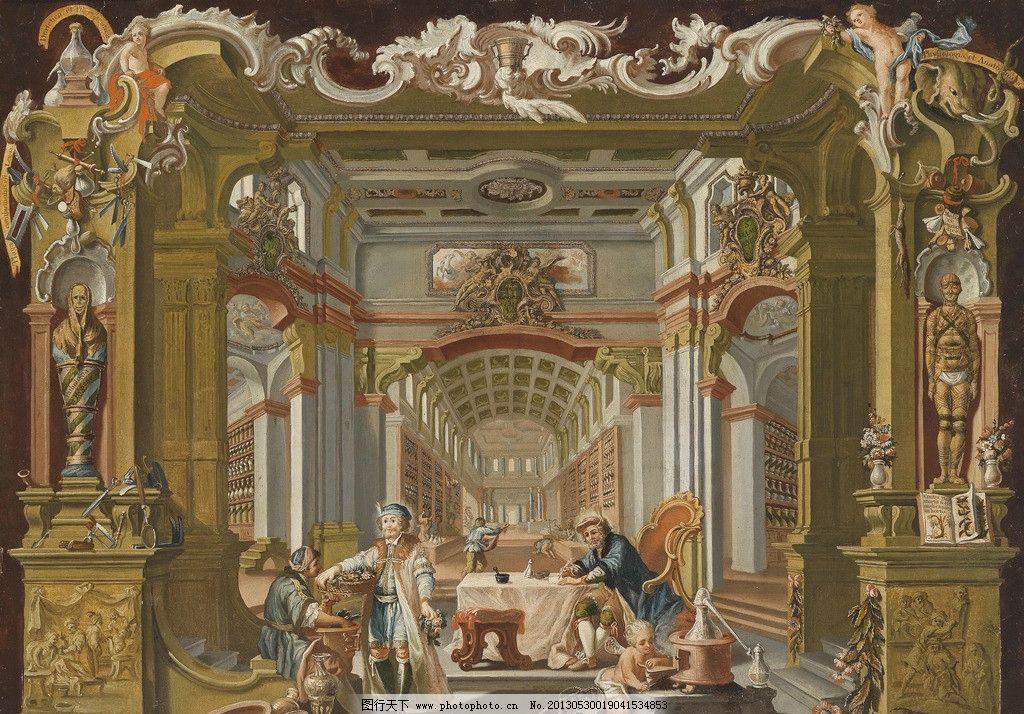 皇家博物馆 天使 建筑 人物 巴洛克时代 神殿 古典油画 油画 绘画书法