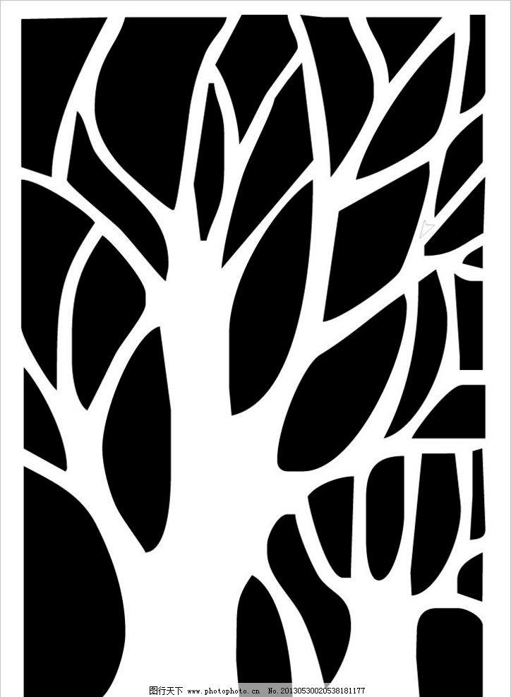 大树 树 矢量树 装饰树 玻璃隔断花 底边花纹 浮雕 条纹线条 底纹边框