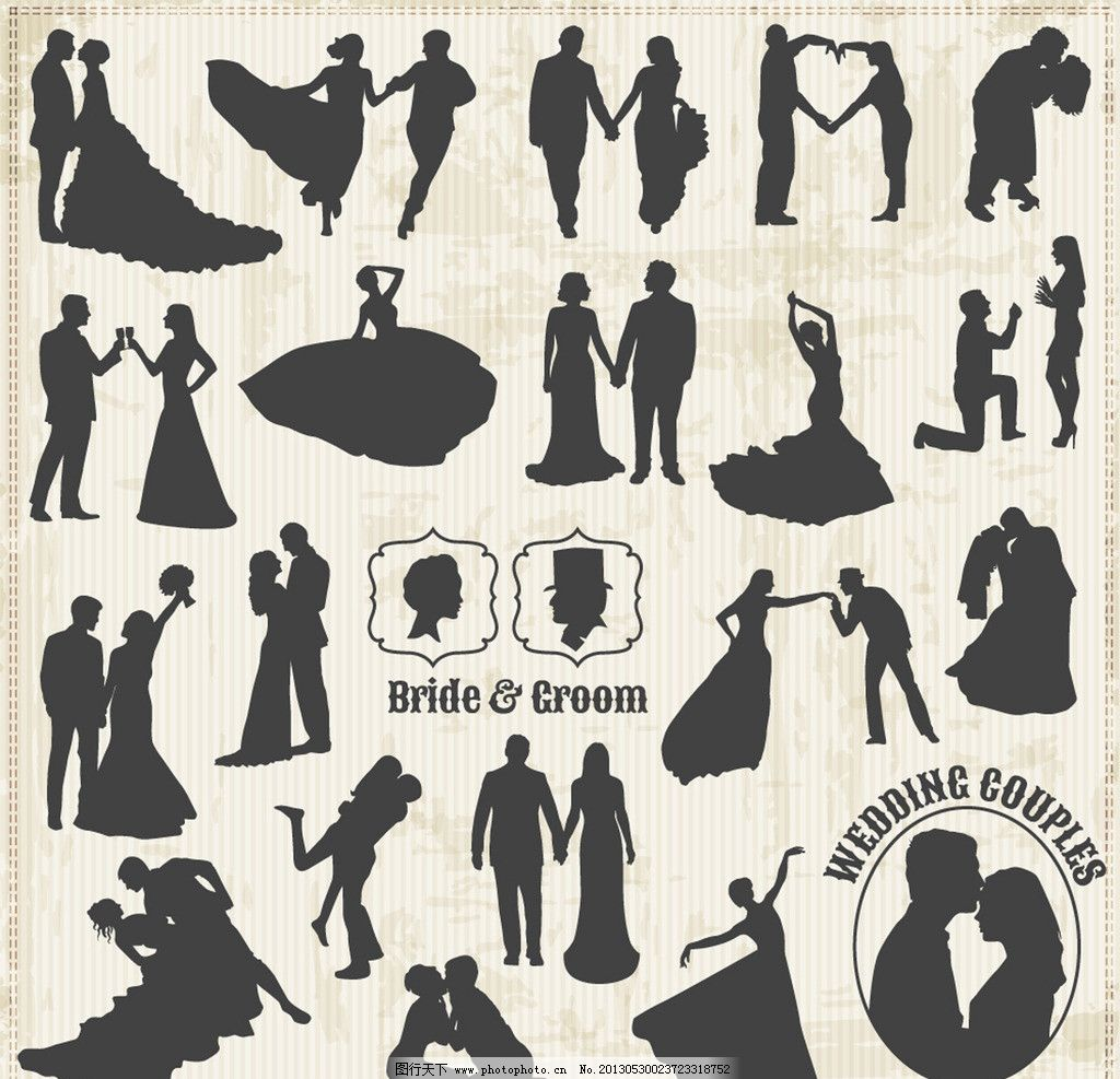 婚礼剪影 婚礼 新郎 新娘 接吻 喜庆 婚庆 卡通 卡通人物 情人 绅士