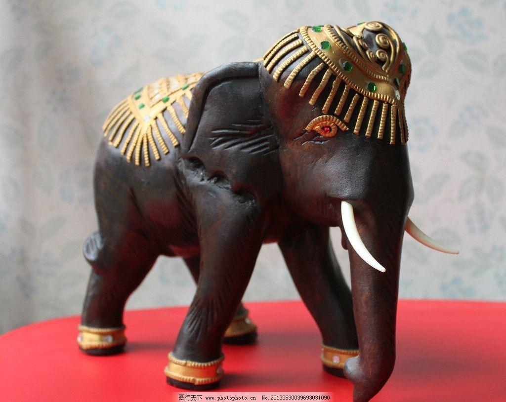 静物木雕大象 木雕大象 静物 泰国特产 手工雕刻 泰式风格 精致 细腻