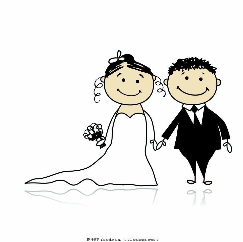 动漫人物 婚庆 婚礼 结婚 爱情 线描画 动漫动画