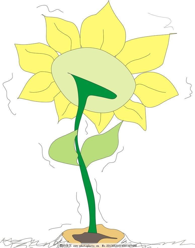 手绘花朵 黄花 背面 花朵 可爱 简笔 美术绘画 文化艺术 矢量 cdr