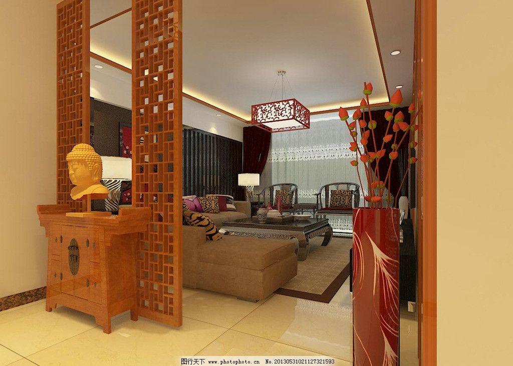 简中式效果图门厅 实木雕花 水银镜 中式花格 灯箱片 仿估砖 沙发