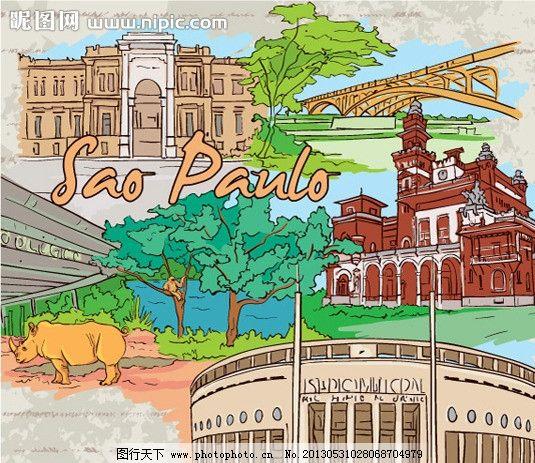 手绘城市 世界风光 水彩画 绘画 世界风景 素描 世界旅游名胜 矢量