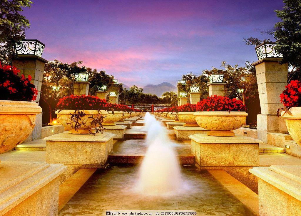 欧式园林 水景景观喷泉图片