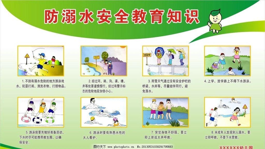 防溺水安全教育知识 防溺水知识 儿童安全教育 卡通知识 幼儿园溺水