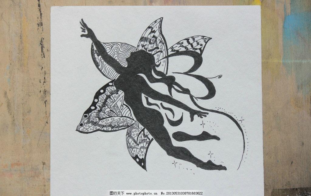 花天使 黑白画 手绘 人物 花朵 漫画 美术绘画 摄影