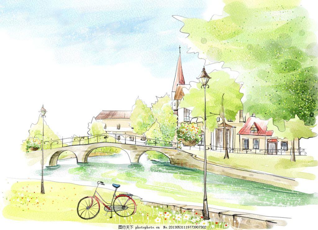 河边的自行车 小桥 手绘 河流 白色