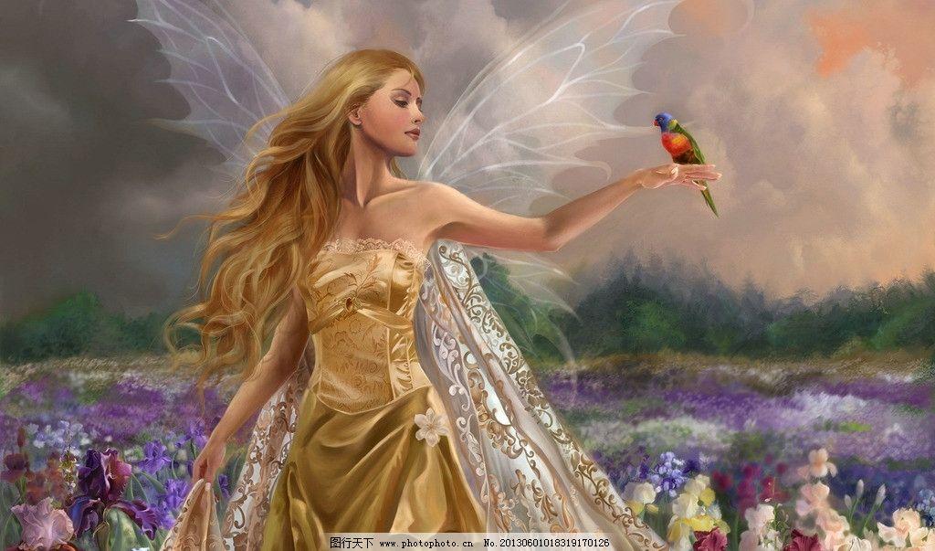 动漫卡通 动漫人物  手绘美女 蝴蝶翅膀 精灵 鹦鹉 花草 卷发 披风