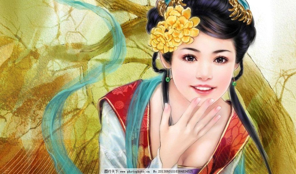 设计图库 动漫卡通 动漫人物  手绘美女 古装美女 古典美女 唯美 幻想
