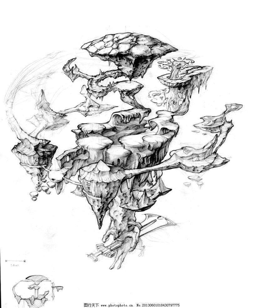 园林景观天空手绘线稿