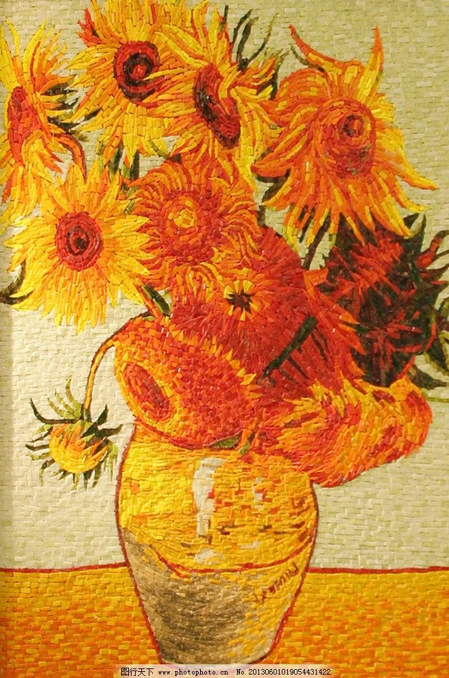 马赛克花朵 花 花瓶 油画 马赛克 马赛克剪画 壁画 艺术 欧式 装饰 玻