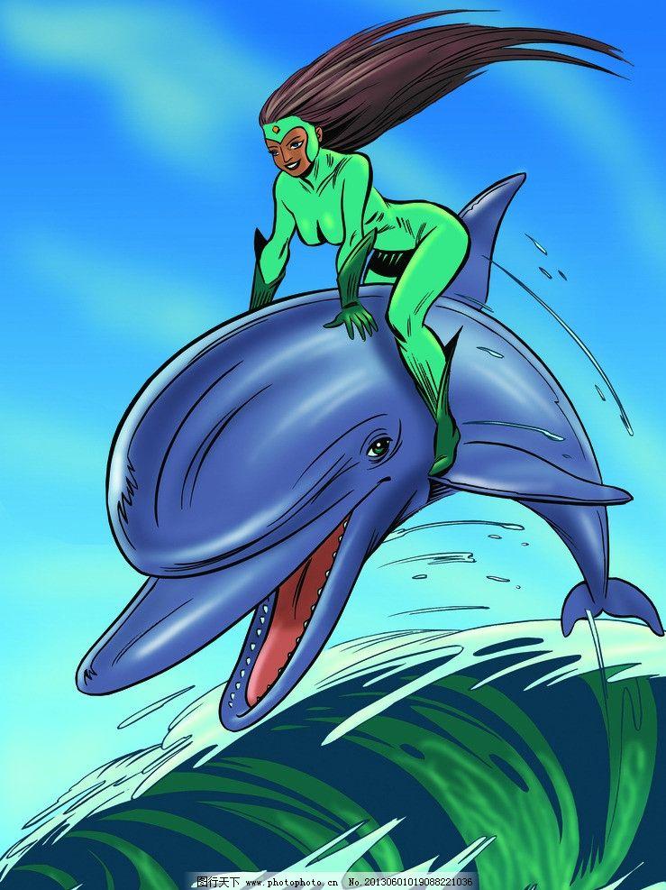 插画 海豚 大海 超人 飞跃 手绘 动漫 动画 海浪 海水 绘画书法 文化