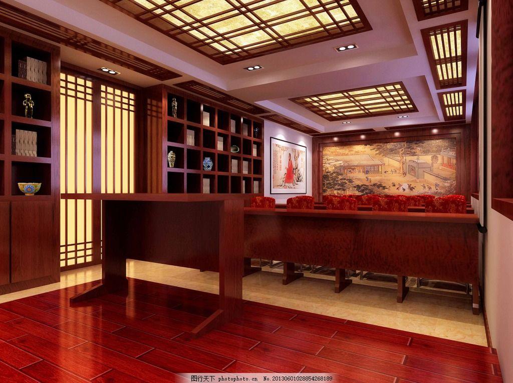 中式天花板 装修 参考 红色