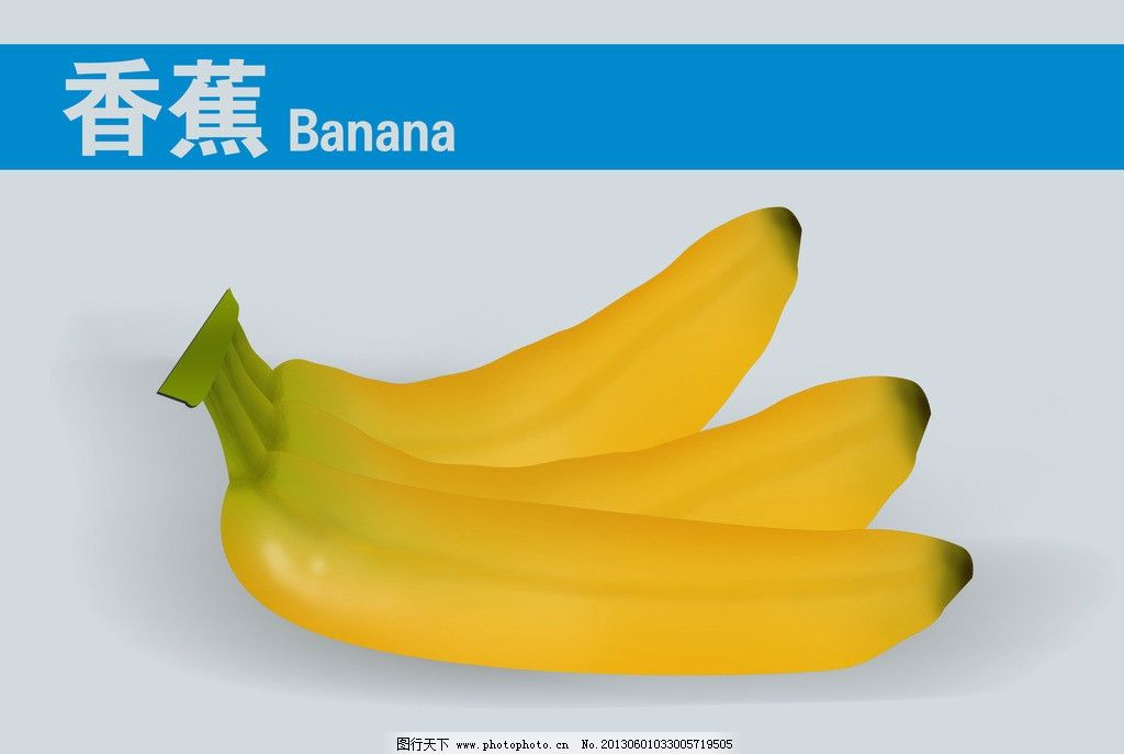 香蕉 水果 鼠标绘图 水果卡片 黄色香蕉 源文件