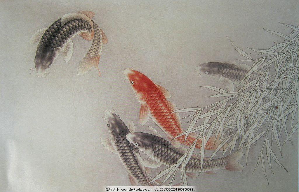 工笔鲤鱼 工笔画 高清 鲤鱼 水草 竹子 绘画书法 文化艺术 设计 180dp