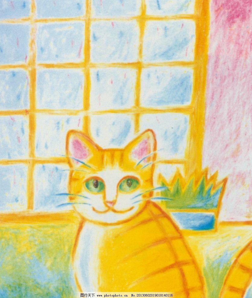 插画 手绘猫 可爱 猫咪 儿童画