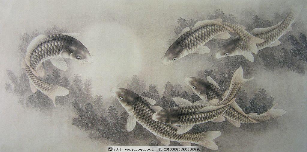 工笔鲤鱼 工笔画 高清 鲤鱼 水草 月亮 绘画书法 文化艺术 设计 180