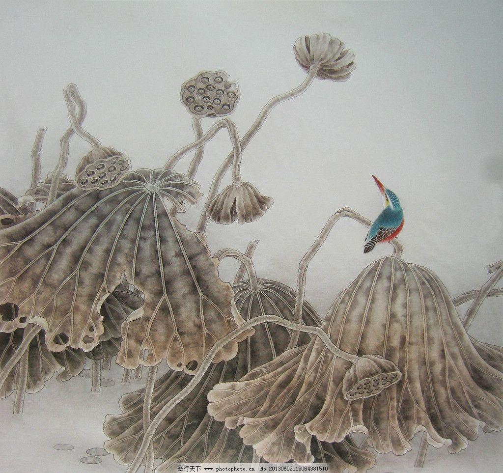 工笔残荷 工笔画 荷花 残荷 莲蓬 翠鸟 高清 国画 绘画书法 文化艺术