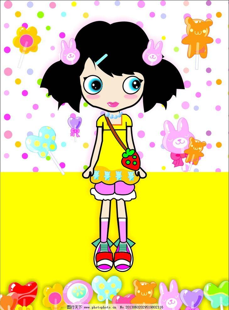 儿童糖果插画图片